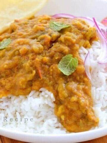 Turai Dal chawar-Ridge gourd lentil meal