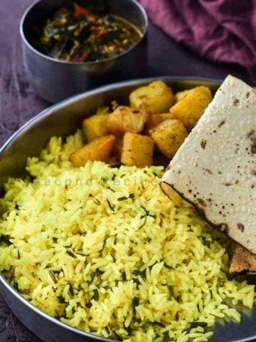 sindhi green garlic rice