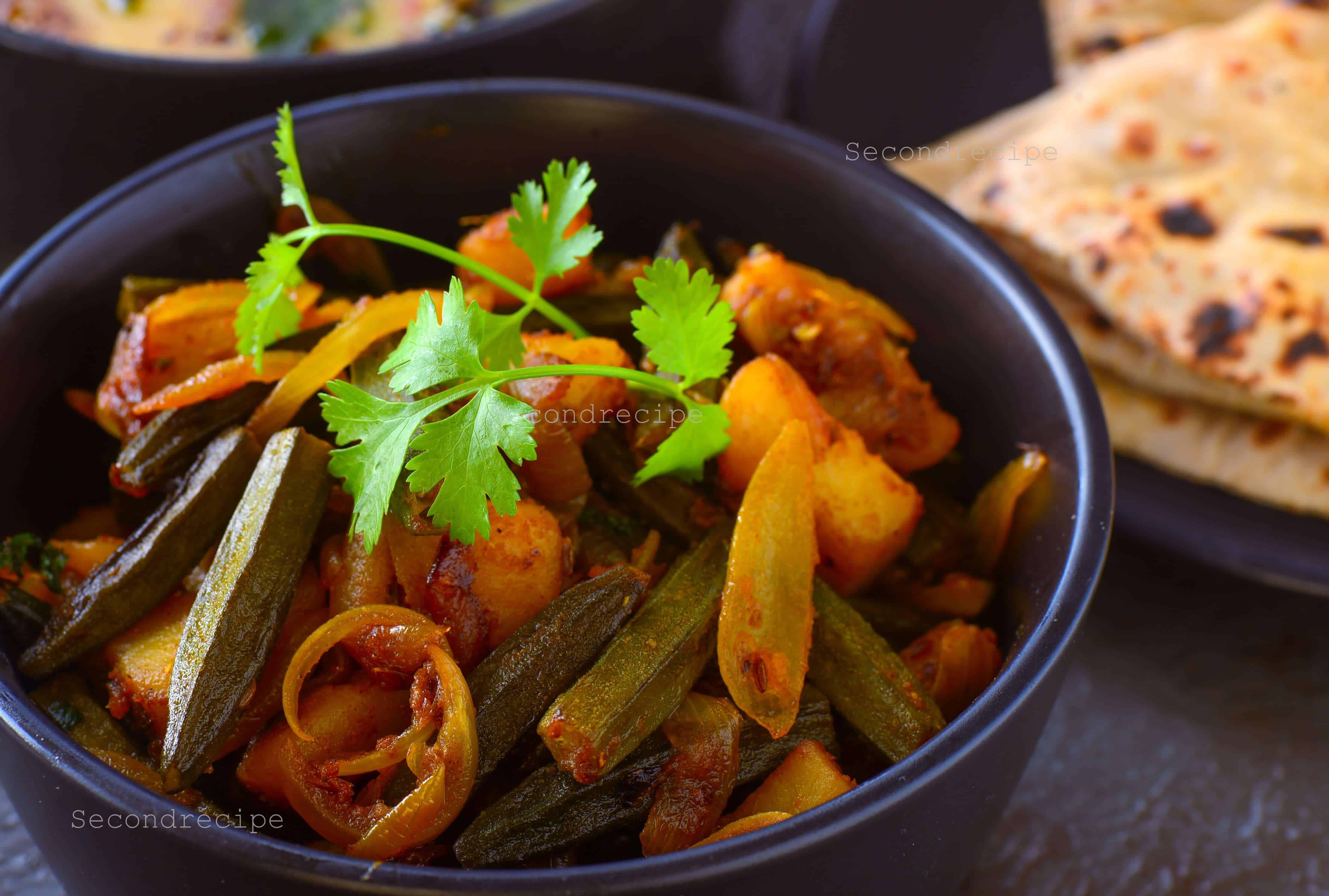 Bhindi basar patata-okra, onions & potato curry