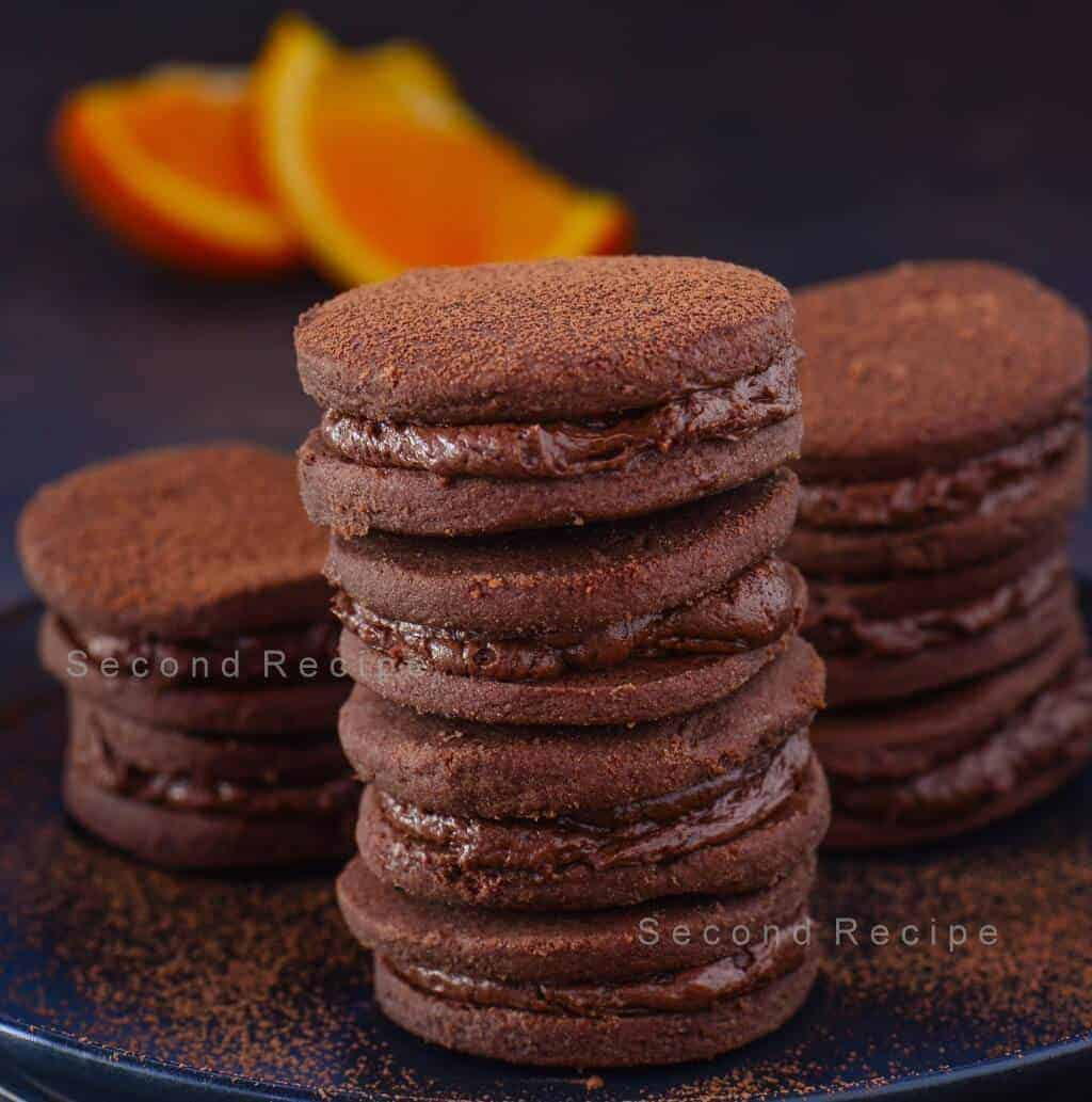 Orange chocolate cream cookies