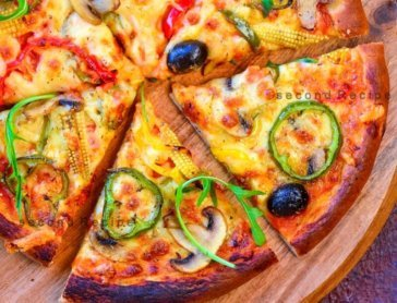 Stone baked vegetarian pizza
